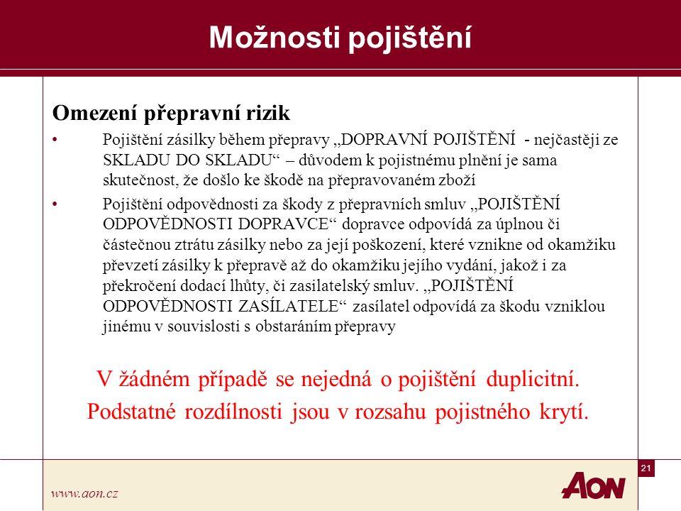 """21 www.aon.cz Možnosti pojištění Omezení přepravní rizik Pojištění zásilky během přepravy """"DOPRAVNÍ POJIŠTĚNÍ - nejčastěji ze SKLADU DO SKLADU – důvodem k pojistnému plnění je sama skutečnost, že došlo ke škodě na přepravovaném zboží Pojištění odpovědnosti za škody z přepravních smluv """"POJIŠTĚNÍ ODPOVĚDNOSTI DOPRAVCE dopravce odpovídá za úplnou či částečnou ztrátu zásilky nebo za její poškození, které vznikne od okamžiku převzetí zásilky k přepravě až do okamžiku jejího vydání, jakož i za překročení dodací lhůty, či zasilatelský smluv."""