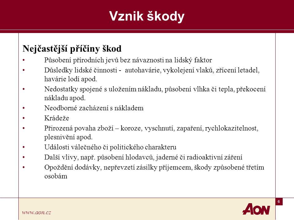 7 www.aon.cz Vznik škody