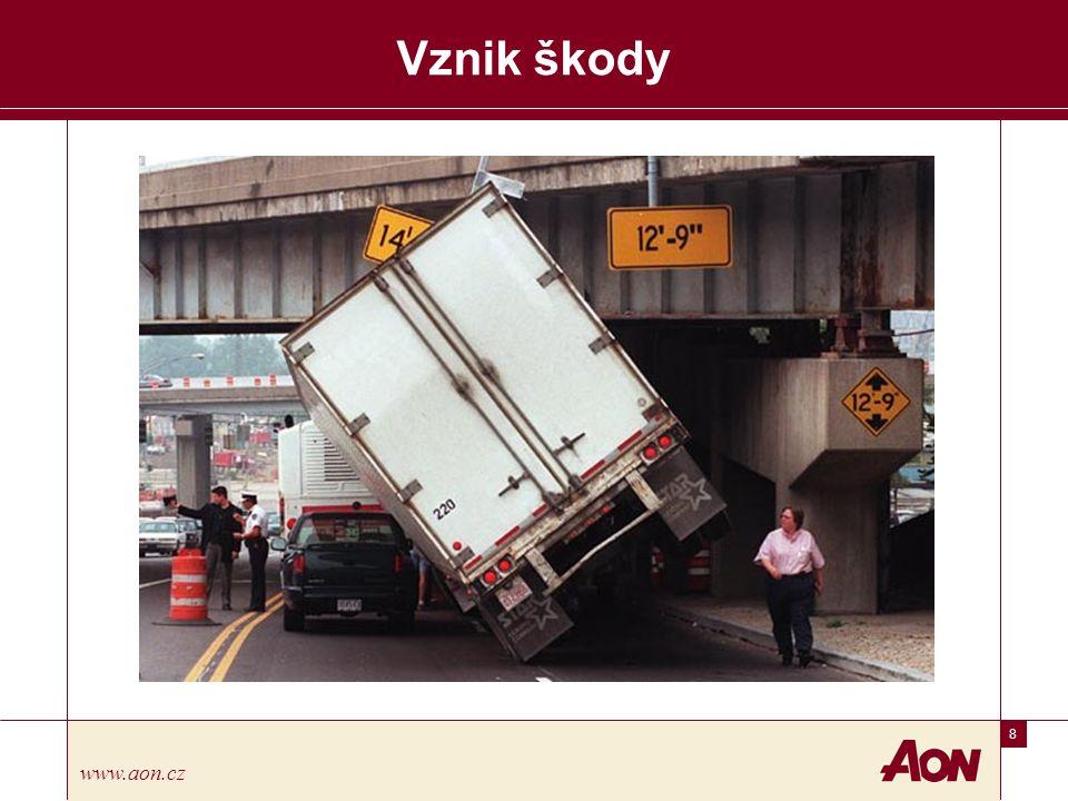 29 www.aon.cz Pojištění odpovědnosti dopravce Mezinárodní železniční přeprava zbožíCOTIF s ratifikací v Litvě 2003 Dopravce odpovídá za škodu v případě zničení, ztráty nebo poškození přepravovaného nákladu, která vznikne od okamžiku převzetí do okamžiku jejího vydání, jakož i za překročení dodací lhůty Dopravce je zproštěn odpovědnosti: – Při přepravě v otevřených vozech – Při chybějícím či vadném obalu – Z přirozené povahy zásilky – Při nesprávném, nepřesném či neúplném označení zásilky – Při přepravě živých zvířat – V případě, kdy přeprava měla být doprovázena a ke ztrátě nebo poškození došlo za okolnosti, které měl doprovod odvrátit Omezení odpovědnosti dopravce za škodu je do výše 17 SDR/ZPČ za kg chybějící brutto váhy, pokud nebyl za příplatek dohodnut limit vyšší