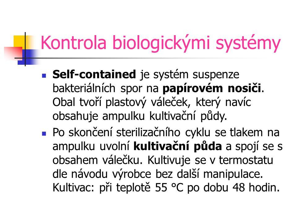 Kontrola biologickými systémy Self-contained je systém suspenze bakteriálních spor na papírovém nosiči.