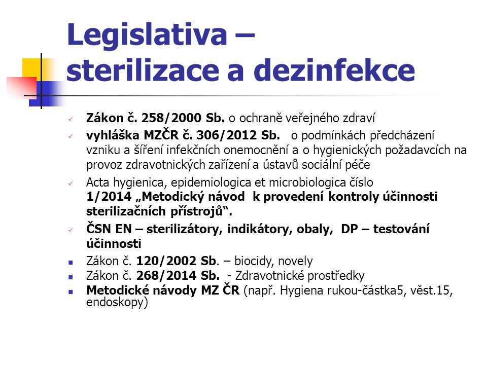 ČSN EN - sterilizace ČSN EN 285 Sterilizace-Parní sterilizátory-Velké sterilizátory ČSN EN ISO 11135-1 Sterilizace výrobků pro zdravotní péči-Sterilizace etylénoxidem-Požadavky na vývoj, validaci a průběžnou kontrolu sterilizačního postupu pro zdravotnické prostředky.
