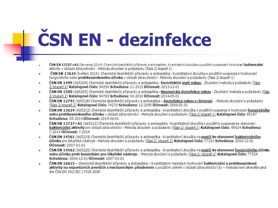 ČSN EN - dezinfekce ČSN EN 13727+A1 (červenec 2014): Chemické dezinfekční přípravky a antiseptika - Kvantitativní zkouška s použitím suspenze k hodnocení baktericidní aktivity v oblasti zdravotnictví - Metoda zkoušení a požadavky (fáze 2/stupeň 1) ČSN EN 13624 (květen 2014): Chemické dezinfekční přípravky a antiseptika - Kvantitativní zkouška s použitím suspenze k hodnocení fungicidního nebo protikvasinkového účinku v oblasti zdravotnictví - Metoda zkoušení a požadavky (fáze 2/stupeň 1) ČSN EN 1499 (665204) Chemické dezinfekční přípravky a antiseptika - Dezinfekční mytí rukou - Zkušební metoda a požadavky (fáze 2/stupeň 2) Katalogové číslo: 94256 Schválena: 11.2013 Účinnost: 2013-12-01 ČSN EN 1500 (665205) Chemické dezinfekční přípravky a antiseptika - Hygienická dezinfekce rukou - Zkušební metoda a požadavky (fáze 2/stupeň 2) Katalogové číslo: 94769 Schválena: 04.2014 Účinnost: 2014-05-01 ČSN EN 12791 (665218) Chemické dezinfekční přípravky a antiseptika – Dezinfekce rukou v chirurgii - Metoda zkoušení a požadavky (fáze 2/stupeň 2) Katalogové číslo: 74270 Schváleno: 12.2005 Účinnost: 2006-01-01 ČSN EN 13624 (665212) Chemické dezinfekční přípravky a antiseptika - Kvantitativní zkouška s použitím suspenze k hodnocení fungicidního nebo protikvasinkového účinku v oblasti zdravotnictví - Metoda zkoušení a požadavky (fáze 2/stupeň 1) Katalogové číslo: 95187 Schválena: 05.2014 Účinnost: 2014-06-01 ČSN EN 13727+A1 (665213) Chemické dezinfekční přípravky a antiseptika - Kvantitativní zkouška s použitím suspenze ke stanovení baktericidní aktivity pro oblast zdravotnictví - Metoda zkoušení a požadavky (fáze 2/ stupeň 1) Katalogové číslo: 95614 Schválena: 7.2014 Účinnost: 7.2014 ČSN EN 14561 (665219) Chemické dezinfekční přípravky a antiseptika - Kvantitativní zkouška na nosiči ke stanovení baktericidního účinku pro lékařské nástroje - Metoda zkoušení a požadavky (fáze 2/ stupeň 2) Katalogové číslo: 77323 Schválena: 2006-12-01 Účinnost: 2007-01-01 ČSN EN 14562 (665220) Chemick