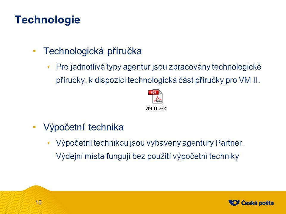 Technologie Technologická příručka Pro jednotlivé typy agentur jsou zpracovány technologické příručky, k dispozici technologická část příručky pro VM II.