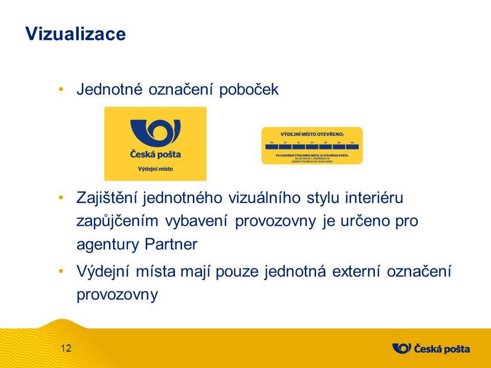 Vizualizace Jednotné označení poboček Zajištění jednotného vizuálního stylu interiéru zapůjčením vybavení provozovny je určeno pro agentury Partner Výdejní místa mají pouze jednotná externí označení provozovny 12