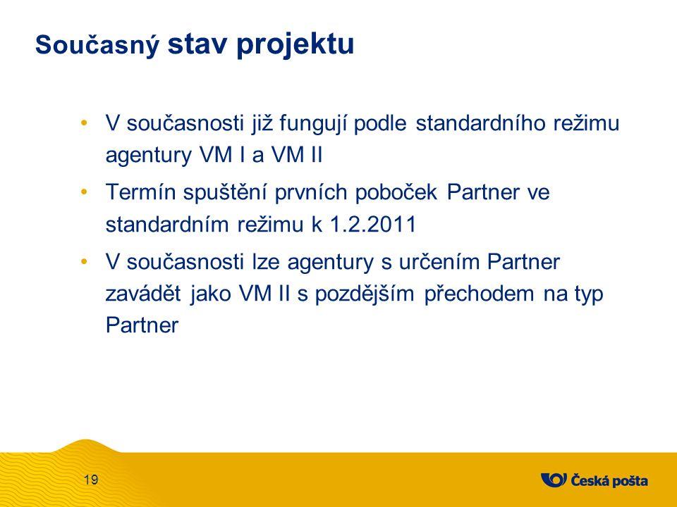 Současný stav projektu V současnosti již fungují podle standardního režimu agentury VM I a VM II Termín spuštění prvních poboček Partner ve standardním režimu k 1.2.2011 V současnosti lze agentury s určením Partner zavádět jako VM II s pozdějším přechodem na typ Partner 19
