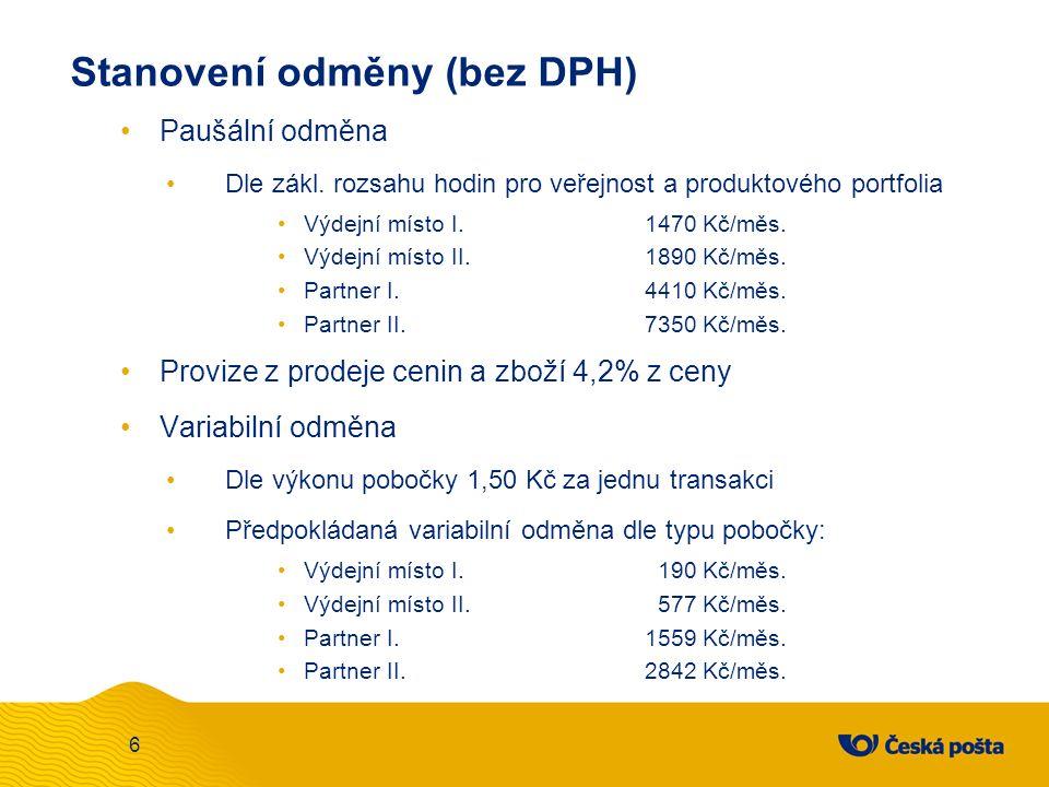 Stanovení odměny (bez DPH) Paušální odměna Dle zákl. rozsahu hodin pro veřejnost a produktového portfolia Výdejní místo I.1470 Kč/měs. Výdejní místo I