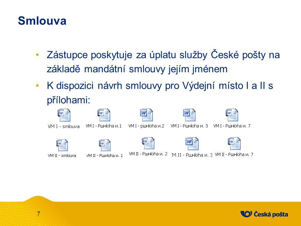 Smlouva Zástupce poskytuje za úplatu služby České pošty na základě mandátní smlouvy jejím jménem K dispozici návrh smlouvy pro Výdejní místo I a II s přílohami: 7