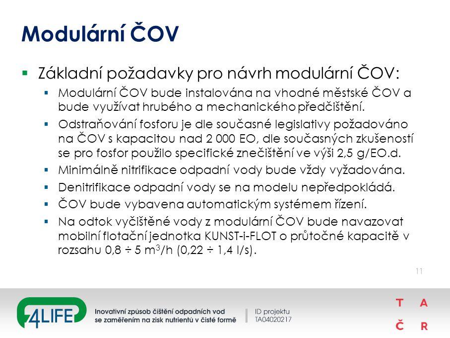 Modulární ČOV  Základní požadavky pro návrh modulární ČOV:  Modulární ČOV bude instalována na vhodné městské ČOV a bude využívat hrubého a mechanického předčištění.