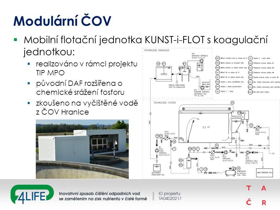 Modulární ČOV  Mobilní flotační jednotka KUNST-i-FLOT s koagulační jednotkou:  realizováno v rámci projektu TIP MPO  původní DAF rozšířena o chemické srážení fosforu  zkoušeno na vyčištěné vodě z ČOV Hranice 12
