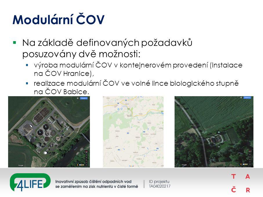 Modulární ČOV  Na základě definovaných požadavků posuzovány dvě možnosti:  výroba modulární ČOV v kontejnerovém provedení (instalace na ČOV Hranice),  realizace modulární ČOV ve volné lince biologického stupně na ČOV Babice.
