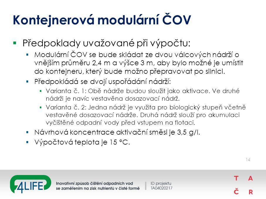Kontejnerová modulární ČOV  Předpoklady uvažované při výpočtu:  Modulární ČOV se bude skládat ze dvou válcových nádrží o vnějším průměru 2,4 m a výšce 3 m, aby bylo možné je umístit do kontejneru, který bude možno přepravovat po silnici.