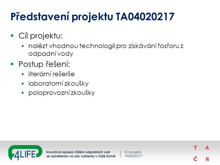 Představení projektu TA04020217  Cíl projektu:  nalézt vhodnou technologii pro získávání fosforu z odpadní vody  Postup řešení:  literární rešerše  laboratorní zkoušky  poloprovozní zkoušky