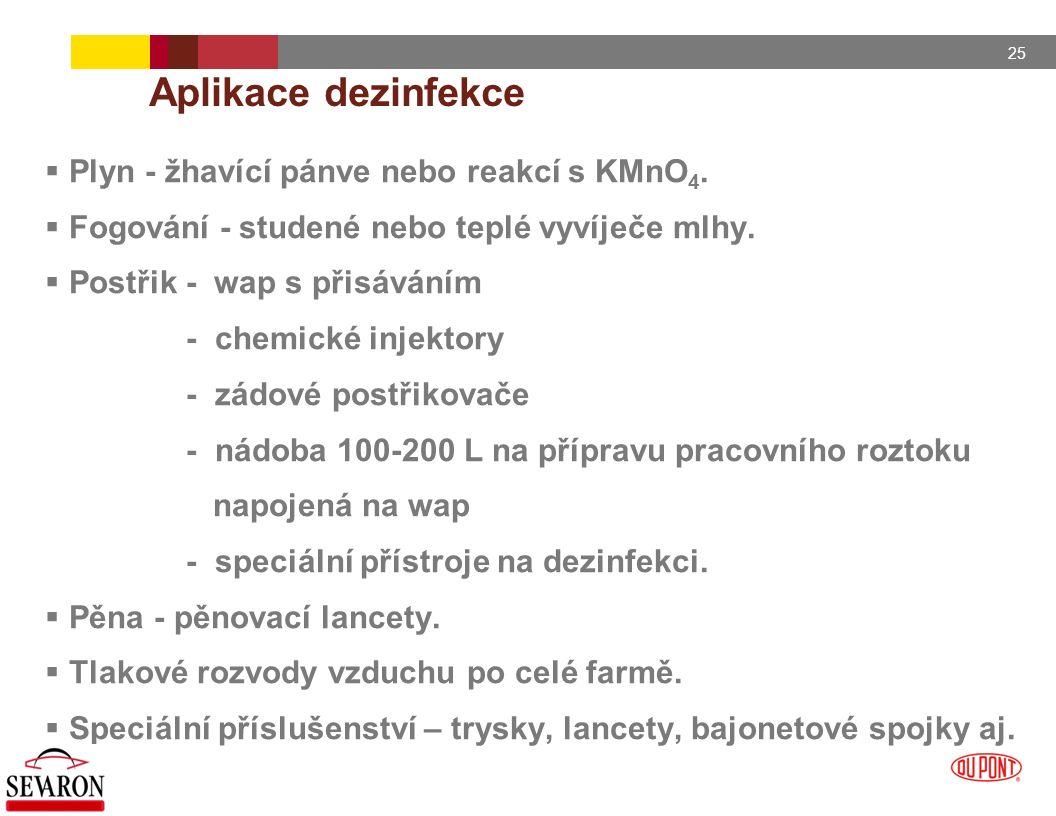 25 Aplikace dezinfekce  Plyn - žhavící pánve nebo reakcí s KMnO 4.  Fogování - studené nebo teplé vyvíječe mlhy.  Postřik - wap s přisáváním - chem