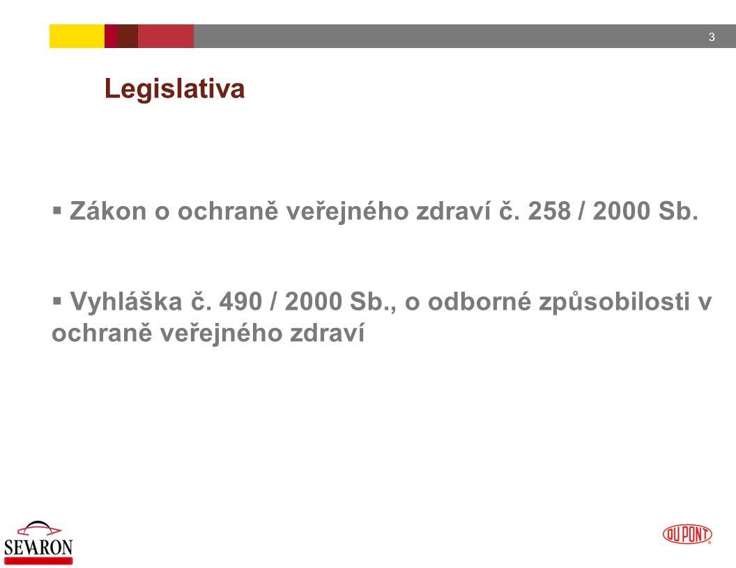 3 Legislativa  Zákon o ochraně veřejného zdraví č. 258 / 2000 Sb.  Vyhláška č. 490 / 2000 Sb., o odborné způsobilosti v ochraně veřejného zdraví
