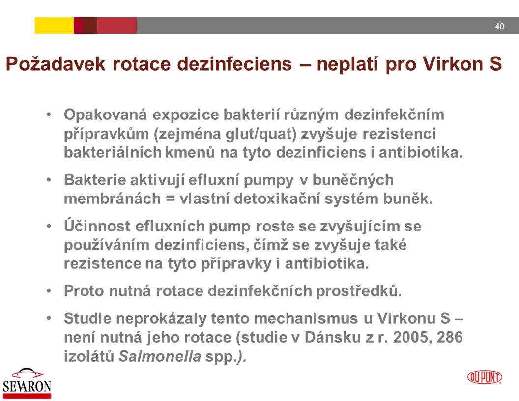 40 Požadavek rotace dezinfeciens – neplatí pro Virkon S Opakovaná expozice bakterií různým dezinfekčním přípravkům (zejména glut/quat) zvyšuje reziste