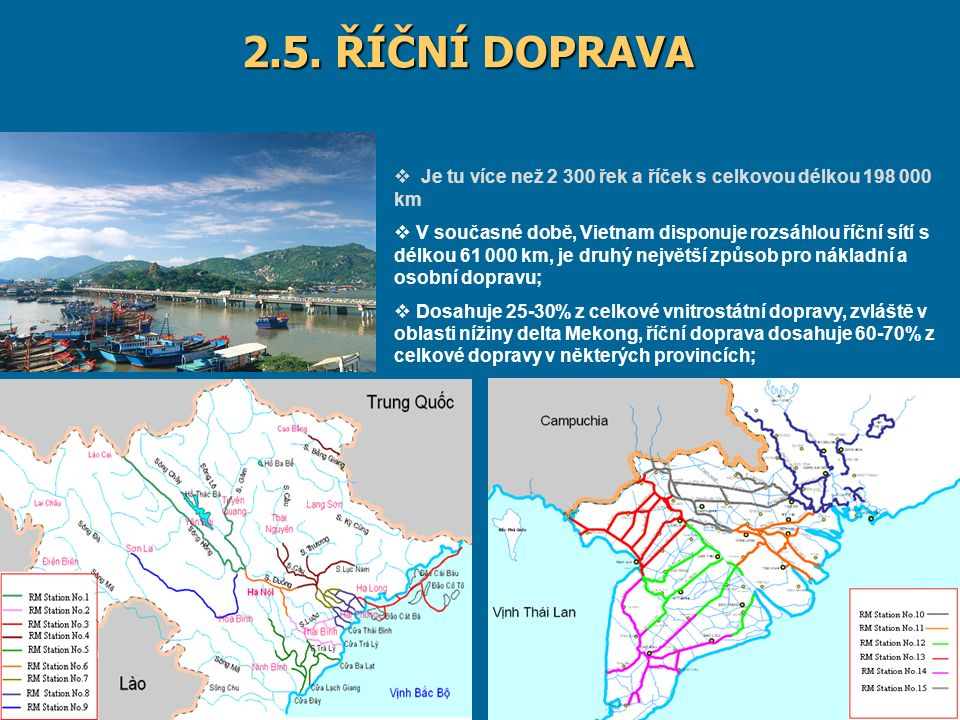 9/20/201614 2.5. ŘÍČNÍ DOPRAVA  Je tu více než 2 300 řek a říček s celkovou délkou 198 000 km  V současné době, Vietnam disponuje rozsáhlou říční sí