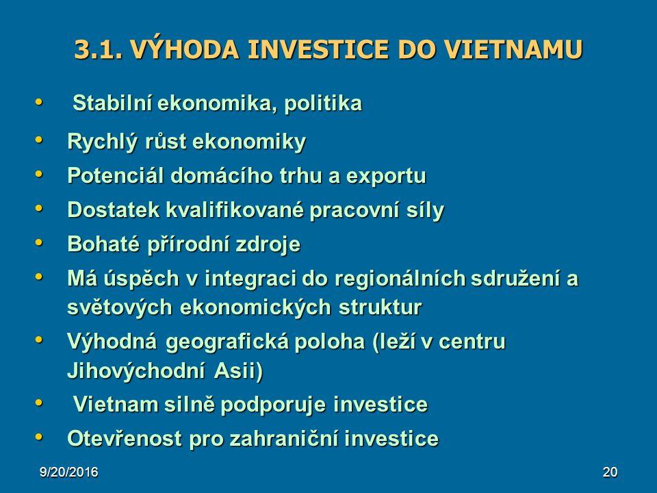 20 3.1. VÝHODA INVESTICE DO VIETNAMU Stabilní ekonomika, politika Stabilní ekonomika, politika Rychlý růst ekonomiky Rychlý růst ekonomiky Potenciál d