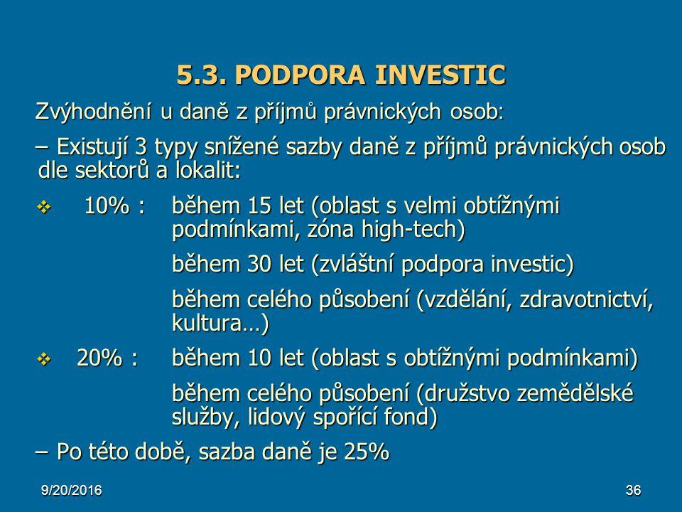 5.3. PODPORA INVESTIC Zvýhodnění u daně z příjmů právnických osob: –Existují 3 typy snížené sazby daně z příjmů právnických osob dle sektorů a lokalit