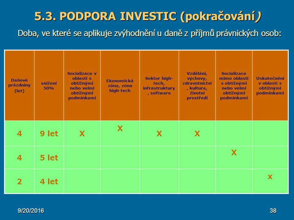 5.3. PODPORA INVESTIC (pokračování) Doba, ve které se aplikuje zvýhodnění u daně z příjmů právnických osob: 9/20/201638 Daňové prázdniny (let) snížení