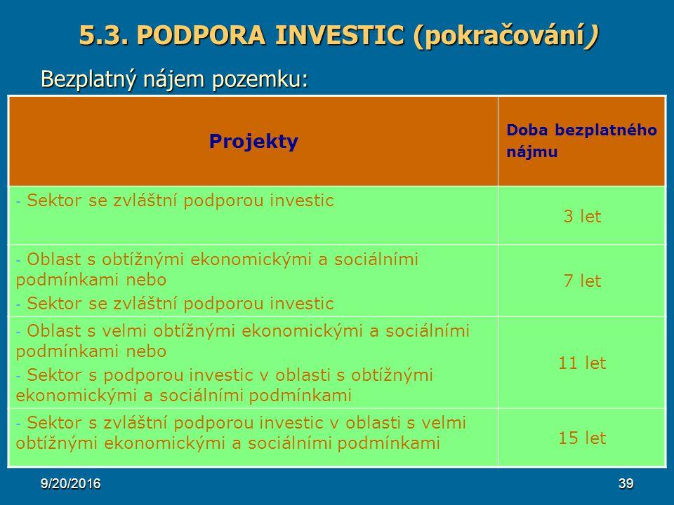 9/20/201639 Projekty Doba bezplatného nájmu - Sektor se zvláštní podporou investic 3 let - Oblast s obtížnými ekonomickými a sociálními podmínkami nebo - Sektor se zvláštní podporou investic 7 let - Oblast s velmi obtížnými ekonomickými a sociálními podmínkami nebo - Sektor s podporou investic v oblasti s obtížnými ekonomickými a sociálními podmínkami 11 let - Sektor s zvláštní podporou investic v oblasti s velmi obtížnými ekonomickými a sociálními podmínkami 15 let 5.3.