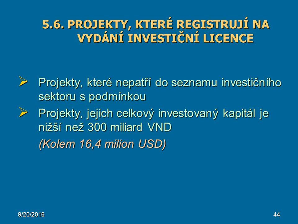 9/20/201644  Projekty, které nepatří do seznamu investičního sektoru s podmínkou  Projekty, jejich celkový investovaný kapitál je nižší než 300 miliard VND (Kolem 16,4 milion USD) 5.6.
