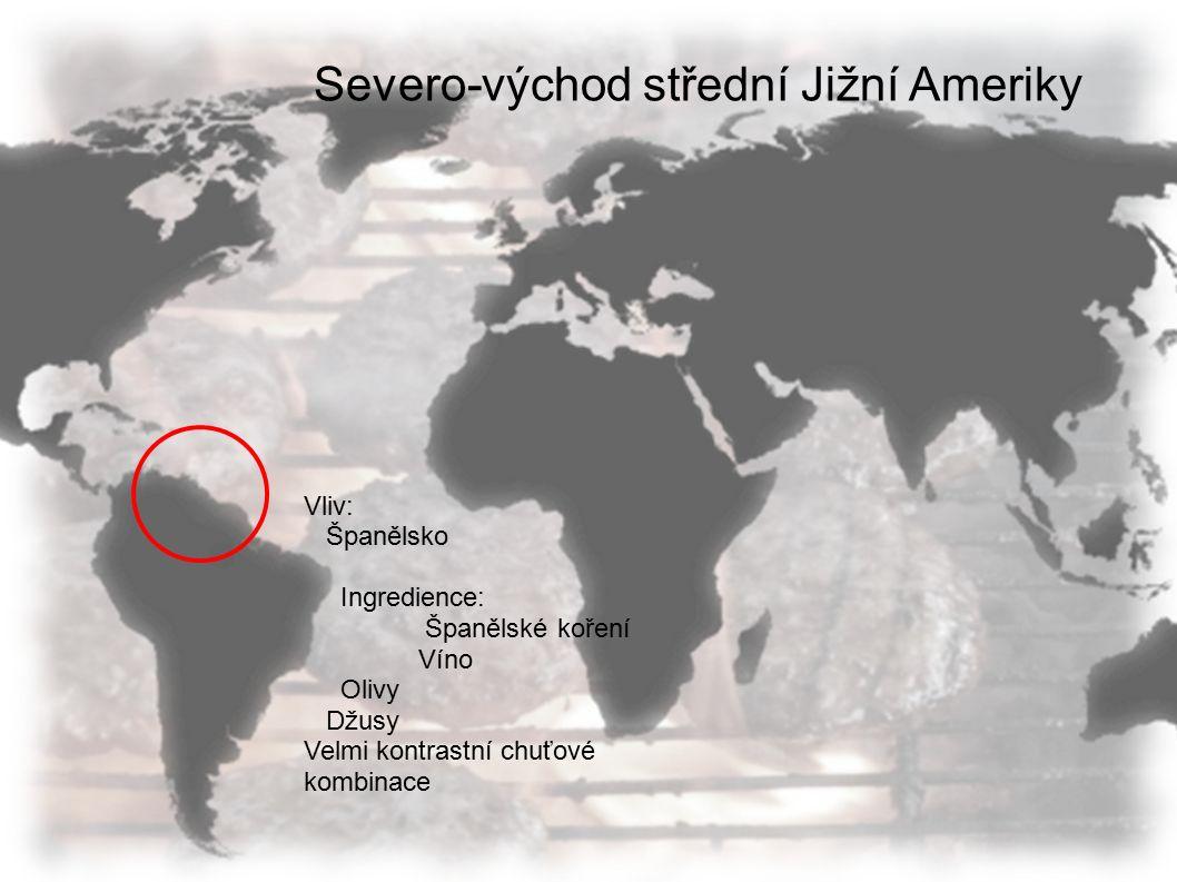 Severo-východ střední Jižní Ameriky Vliv: Španělsko Ingredience: Španělské koření Víno Olivy Džusy Velmi kontrastní chuťové kombinace