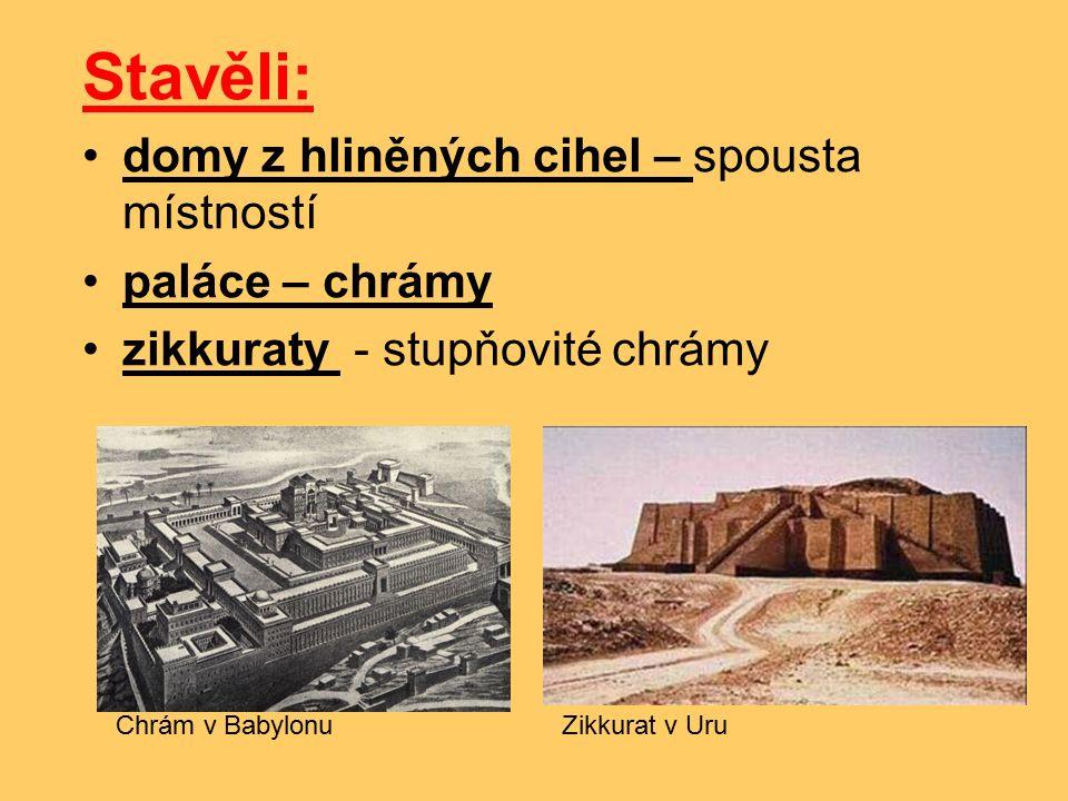Stavěli: domy z hliněných cihel – spousta místností paláce – chrámy zikkuraty - stupňovité chrámy Chrám v BabylonuZikkurat v Uru