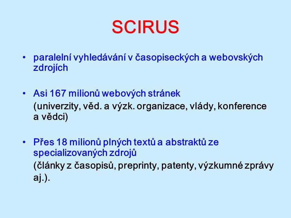 SCIRUS paralelní vyhledávání v časopiseckých a webovských zdrojích Asi 167 milionů webových stránek (univerzity, věd. a výzk. organizace, vlády, konfe
