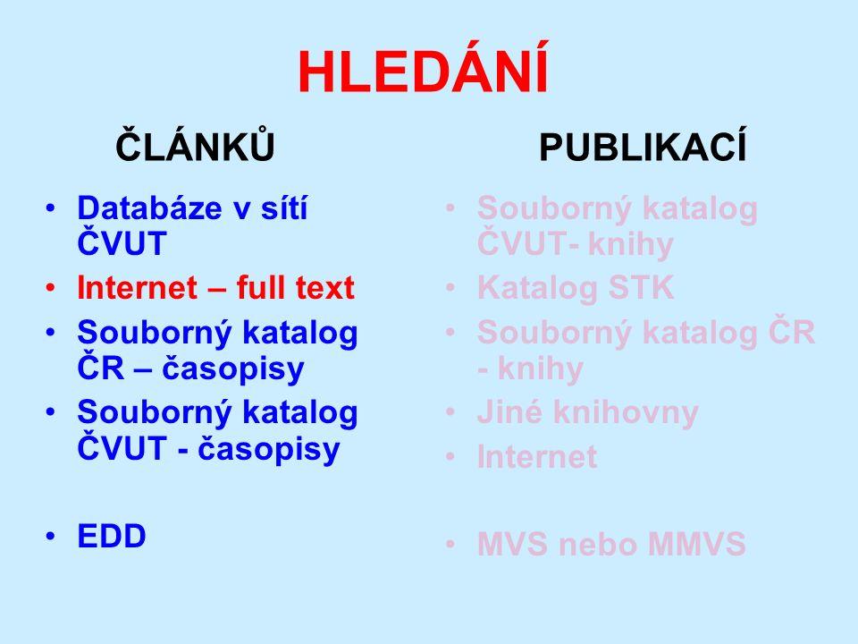 HLEDÁNÍ ČLÁNKŮ PUBLIKACÍ Databáze v sítí ČVUT Internet – full text Souborný katalog ČR – časopisy Souborný katalog ČVUT - časopisy EDD Souborný katalo