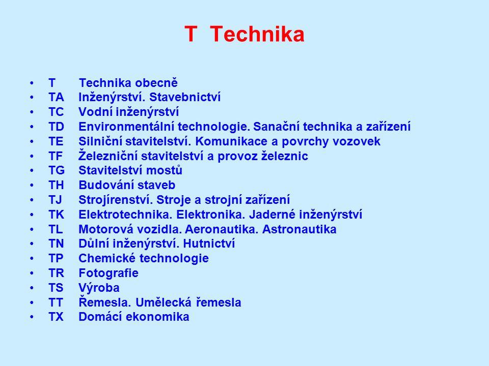 T Technika TTechnika obecně TAInženýrství. Stavebnictví TCVodní inženýrství TDEnvironmentální technologie. Sanační technika a zařízení TESilniční stav