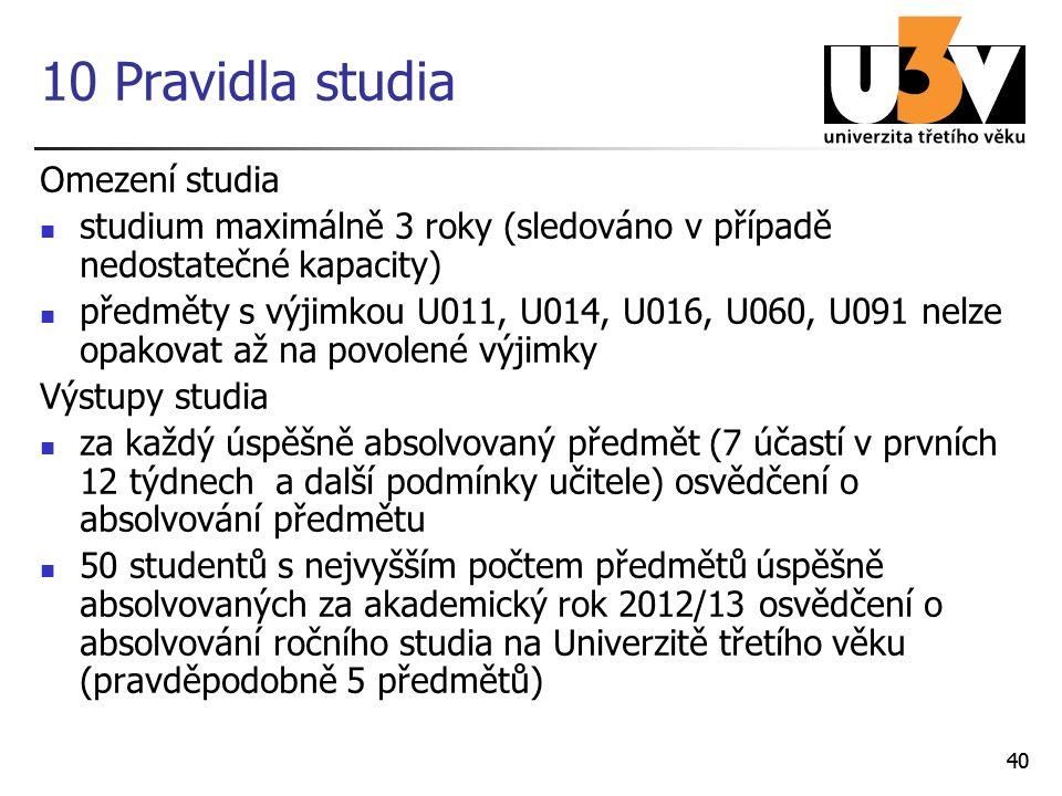40 10 Pravidla studia Omezení studia studium maximálně 3 roky (sledováno v případě nedostatečné kapacity) předměty s výjimkou U011, U014, U016, U060,