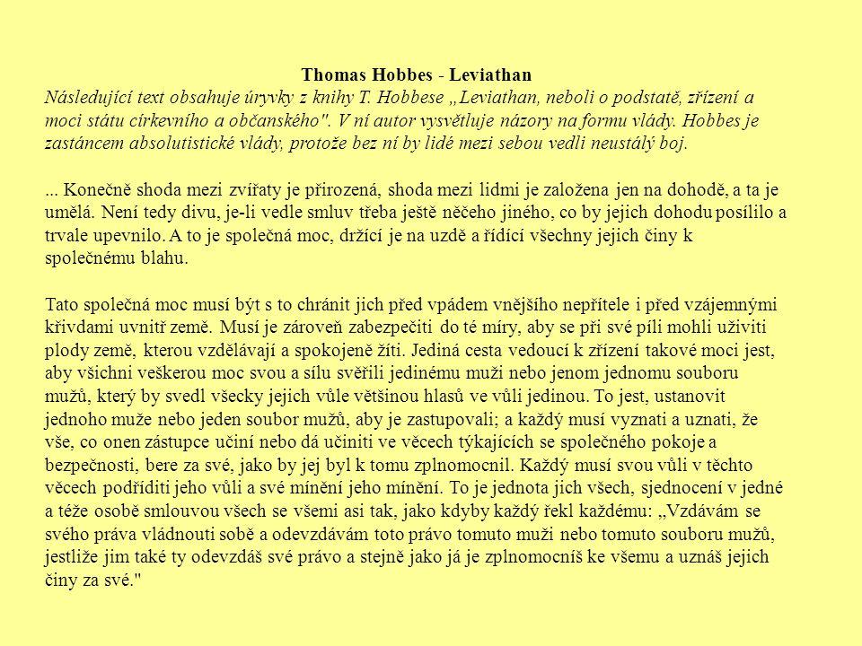 Thomas Hobbes - Leviathan Následující text obsahuje úryvky z knihy T.