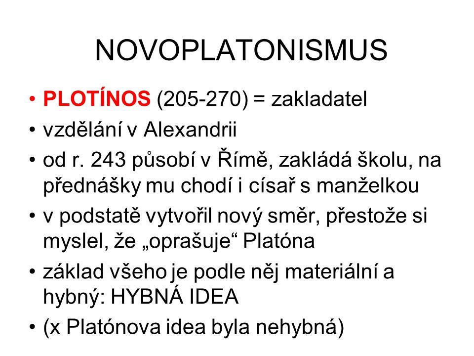NOVOPLATONISMUS PLOTÍNOS (205-270) = zakladatel vzdělání v Alexandrii od r. 243 působí v Římě, zakládá školu, na přednášky mu chodí i císař s manželko