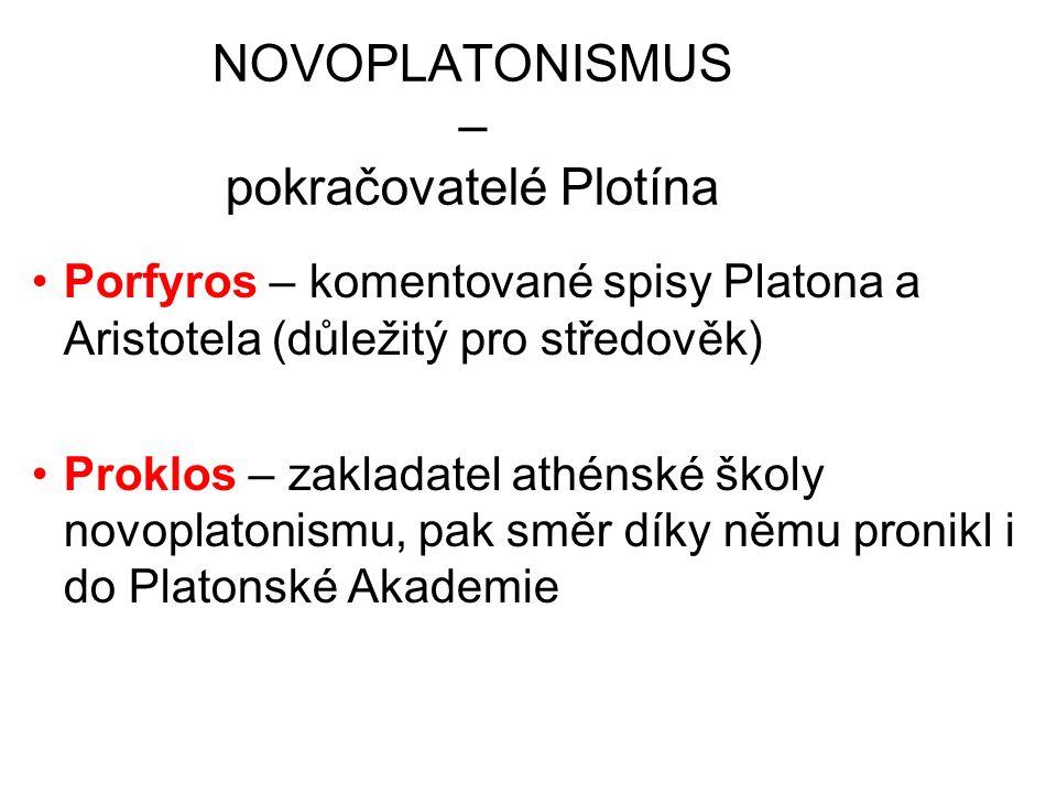 NOVOPLATONISMUS – pokračovatelé Plotína Porfyros – komentované spisy Platona a Aristotela (důležitý pro středověk) Proklos – zakladatel athénské školy