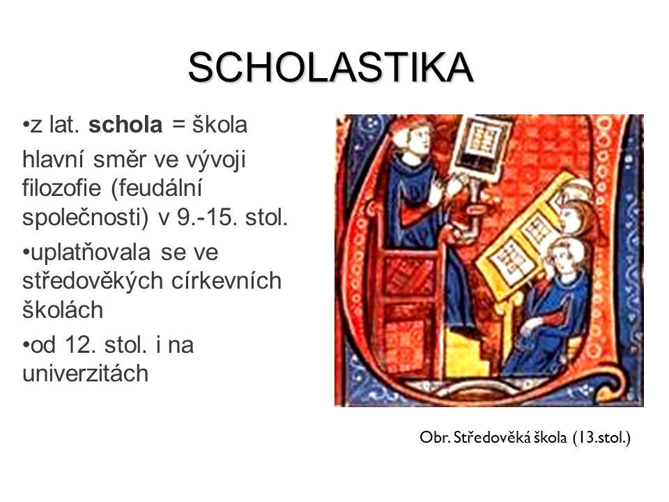 SCHOLASTIKA z lat. schola = škola hlavní směr ve vývoji filozofie (feudální společnosti) v 9.-15. stol. uplatňovala se ve středověkých církevních škol