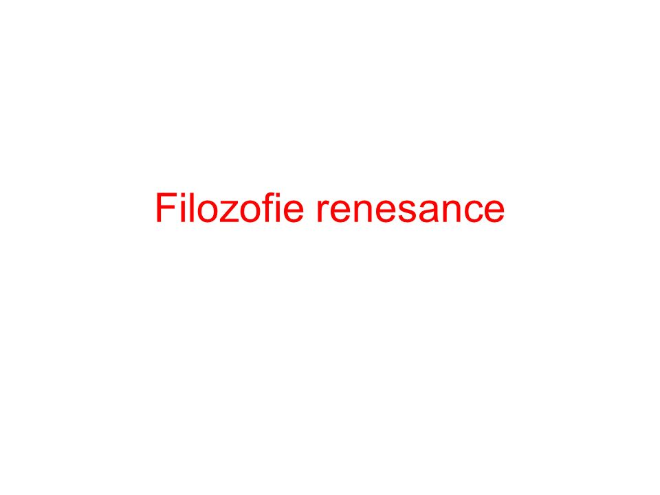 Filozofie renesance