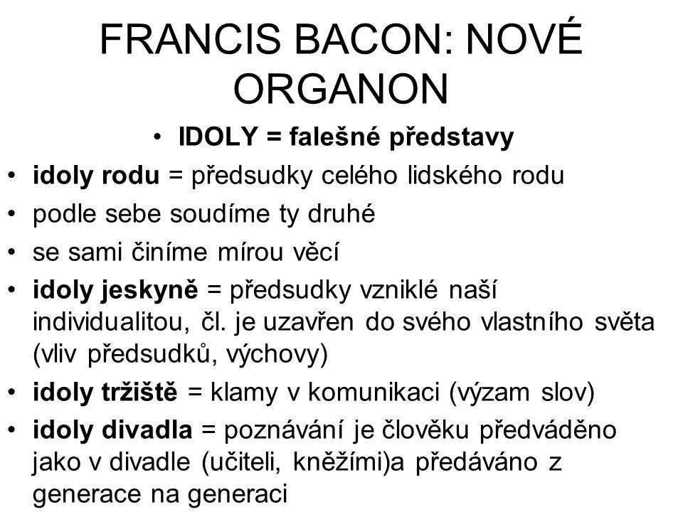 FRANCIS BACON: NOVÉ ORGANON IDOLY = falešné představy idoly rodu = předsudky celého lidského rodu podle sebe soudíme ty druhé se sami činíme mírou věc