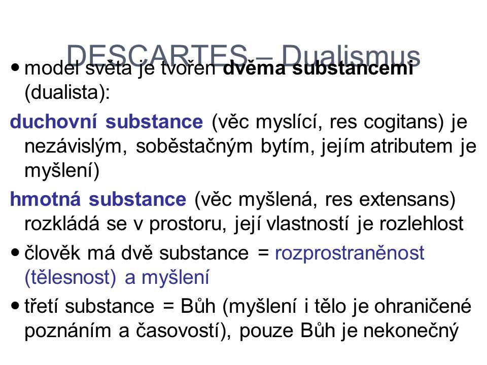 DESCARTES – Dualismus model světa je tvořen dvěma substancemi (dualista): duchovní substance (věc myslící, res cogitans) je nezávislým, soběstačným by
