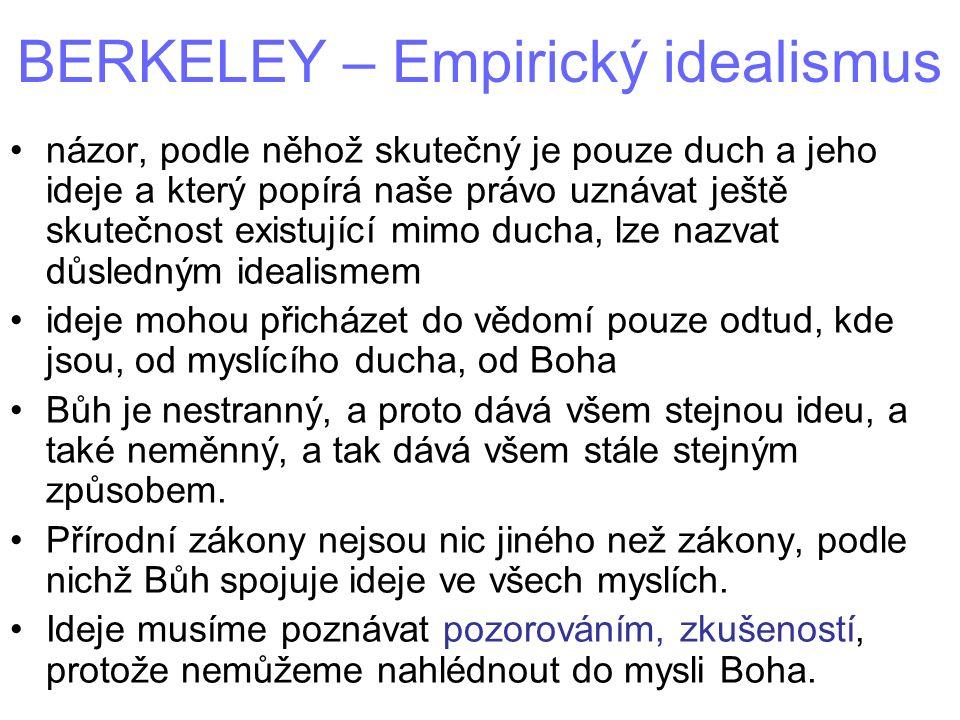 BERKELEY – Empirický idealismus názor, podle něhož skutečný je pouze duch a jeho ideje a který popírá naše právo uznávat ještě skutečnost existující m