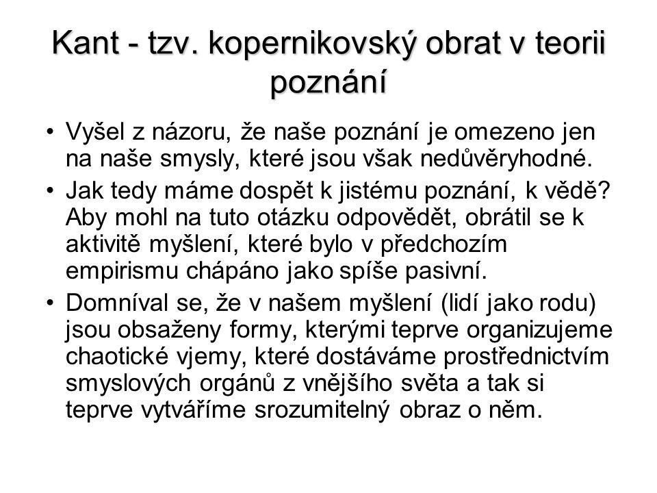 Kant - tzv. kopernikovský obrat v teorii poznání Vyšel z názoru, že naše poznání je omezeno jen na naše smysly, které jsou však nedůvěryhodné. Jak ted