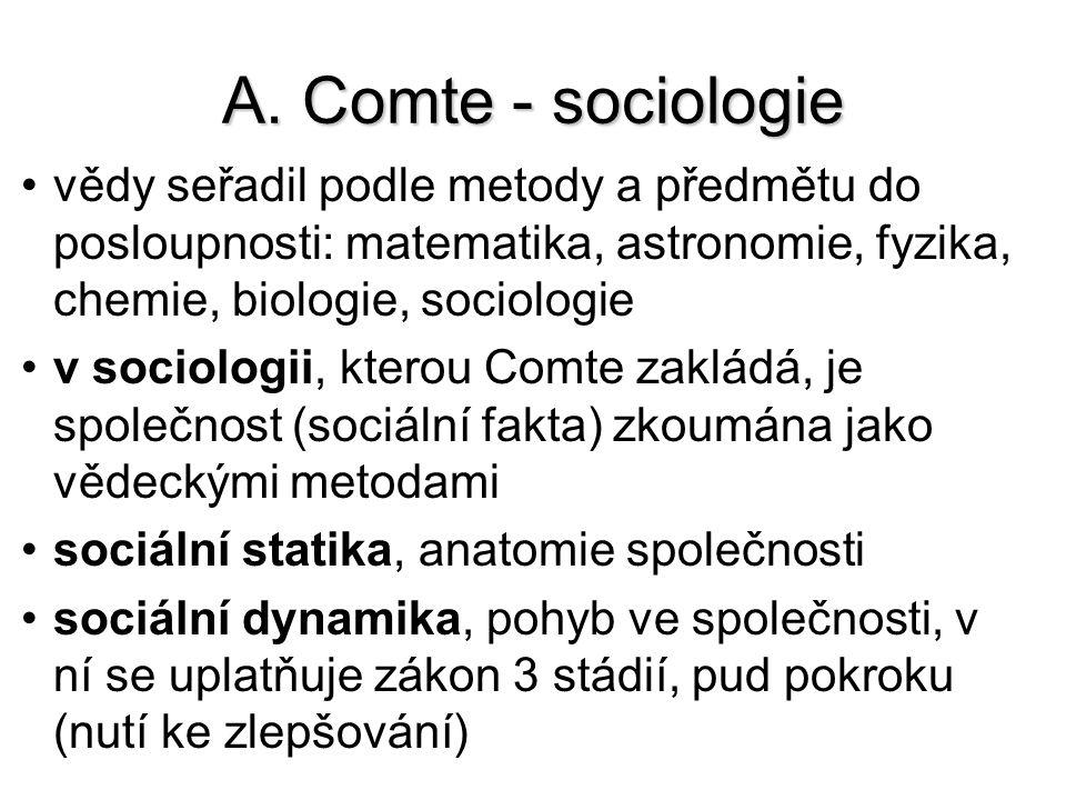 A. Comte - sociologie vědy seřadil podle metody a předmětu do posloupnosti: matematika, astronomie, fyzika, chemie, biologie, sociologie v sociologii,
