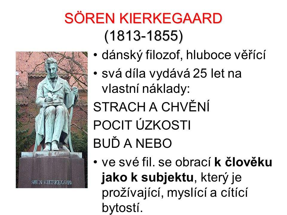 SÖREN KIERKEGAARD (1813-1855) dánský filozof, hluboce věřící svá díla vydává 25 let na vlastní náklady: STRACH A CHVĚNÍ POCIT ÚZKOSTI BUĎ A NEBO ve sv