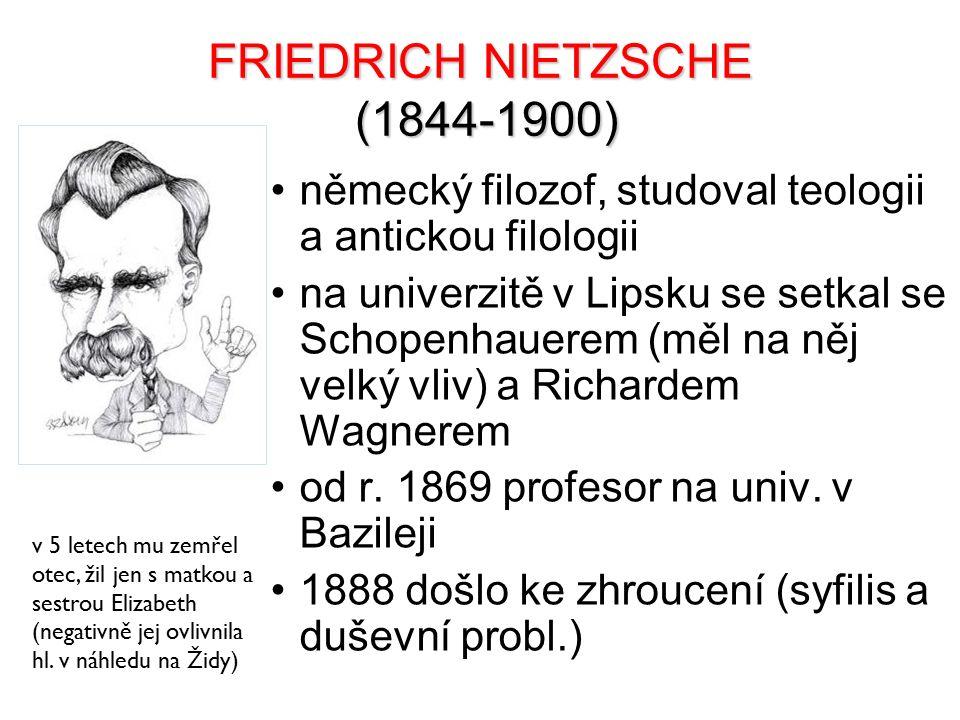 FRIEDRICH NIETZSCHE (1844-1900) německý filozof, studoval teologii a antickou filologii na univerzitě v Lipsku se setkal se Schopenhauerem (měl na něj