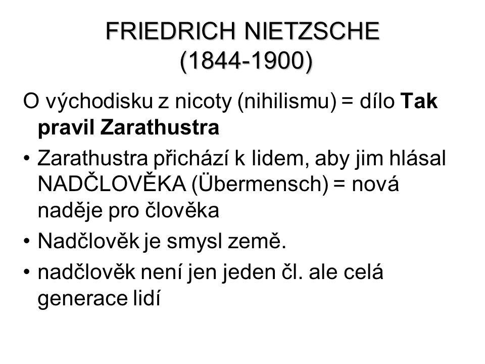 FRIEDRICH NIETZSCHE (1844-1900) O východisku z nicoty (nihilismu) = dílo Tak pravil Zarathustra Zarathustra přichází k lidem, aby jim hlásal NADČLOVĚK