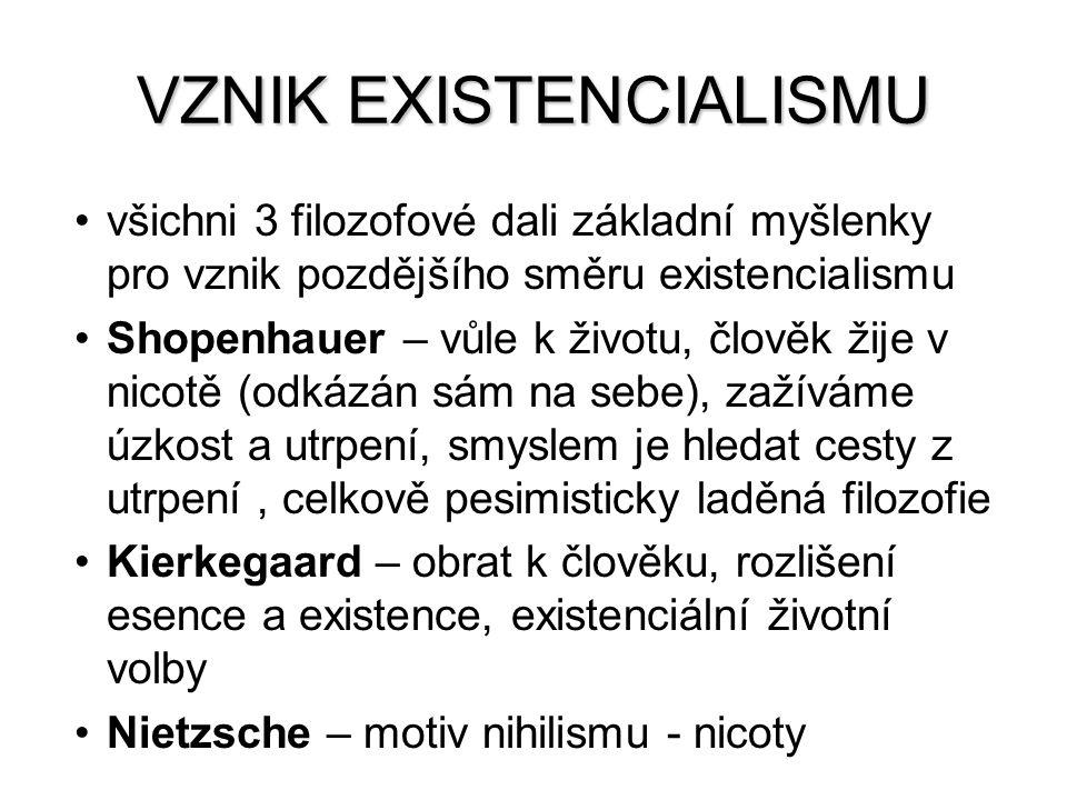 VZNIK EXISTENCIALISMU všichni 3 filozofové dali základní myšlenky pro vznik pozdějšího směru existencialismu Shopenhauer – vůle k životu, člověk žije
