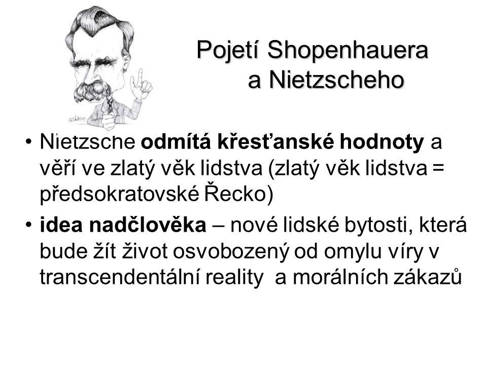 Pojetí Shopenhauera a Nietzscheho Nietzsche odmítá křesťanské hodnoty a věří ve zlatý věk lidstva (zlatý věk lidstva = předsokratovské Řecko) idea nad