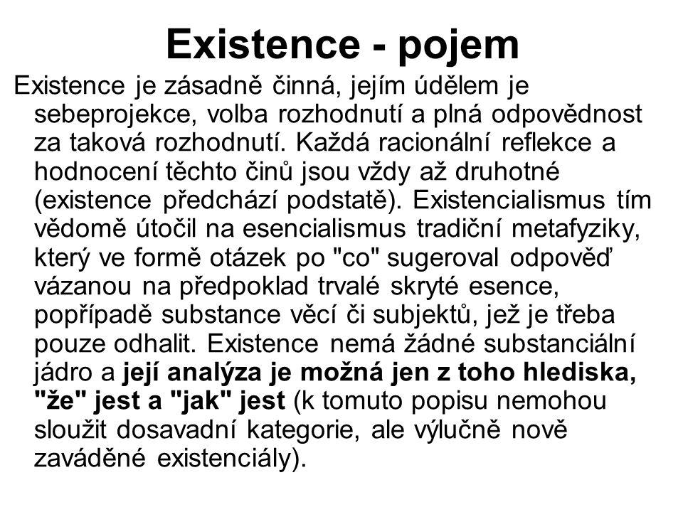 Existence - pojem Existence je zásadně činná, jejím údělem je sebeprojekce, volba rozhodnutí a plná odpovědnost za taková rozhodnutí. Každá racionální