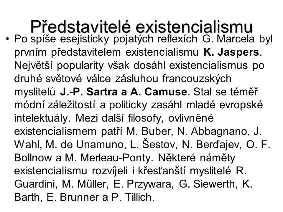 Představitelé existencialismu Po spíše esejisticky pojatých reflexích G. Marcela byl prvním představitelem existencialismu K. Jaspers. Největší popula