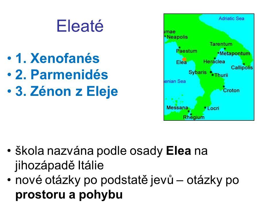 Eleaté 1. Xenofanés 2. Parmenidés 3. Zénon z Eleje škola nazvána podle osady Elea na jihozápadě Itálie nové otázky po podstatě jevů – otázky po prosto