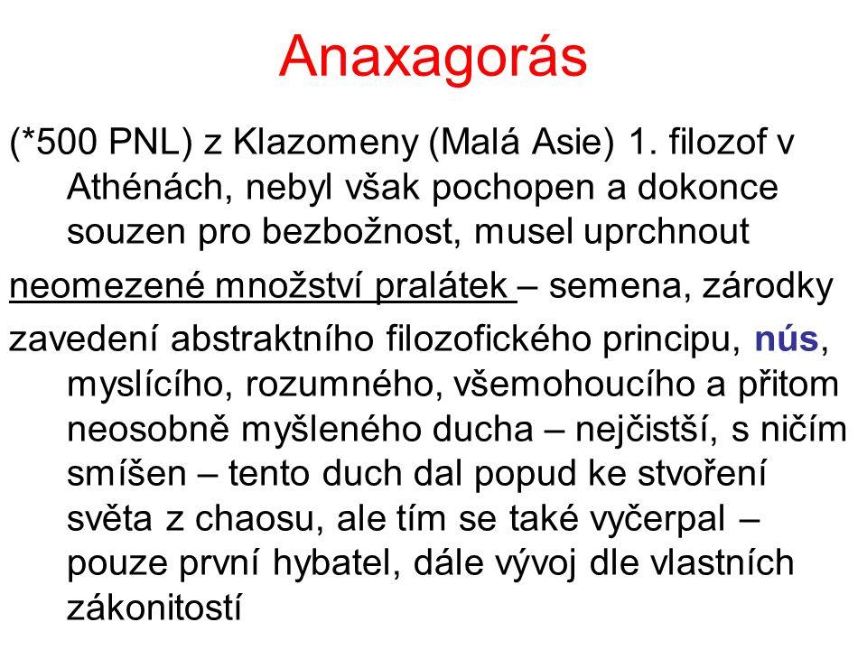 Anaxagorás (*500 PNL) z Klazomeny (Malá Asie) 1. filozof v Athénách, nebyl však pochopen a dokonce souzen pro bezbožnost, musel uprchnout neomezené mn